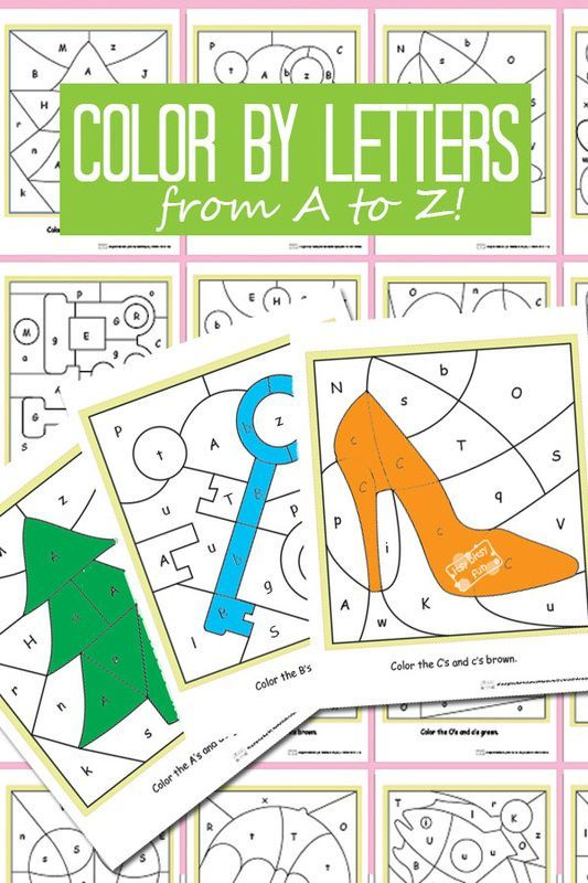 FREE Color by Letters Worksheets to help toddler, preschool, and kindergarten age kid practice alphabet letters - LOVE THESE!