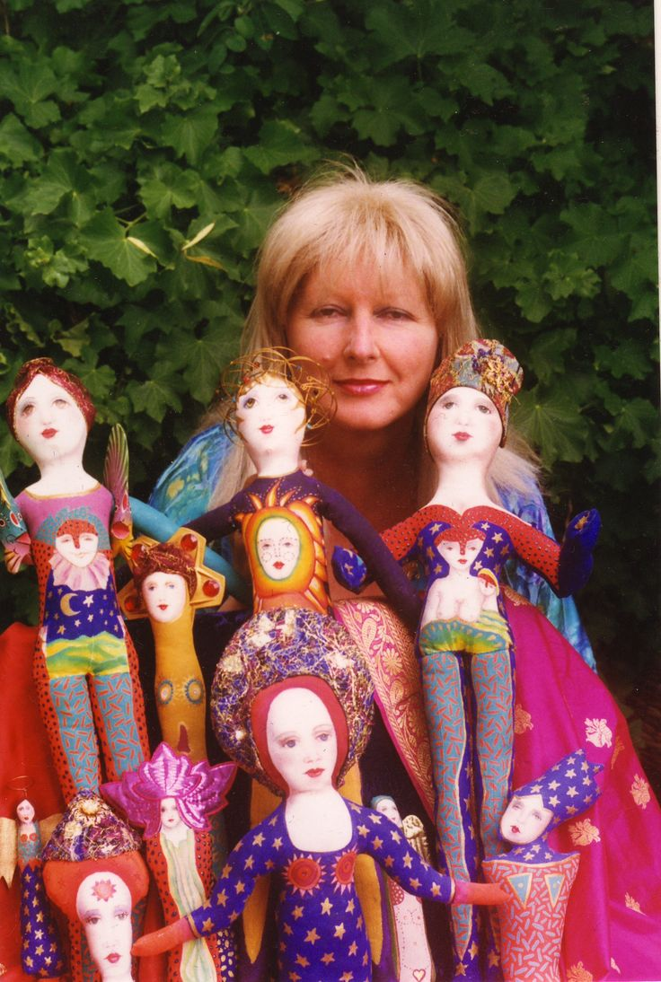 Sylvia Convey with her radiant cloth dolls Canberra 1997.