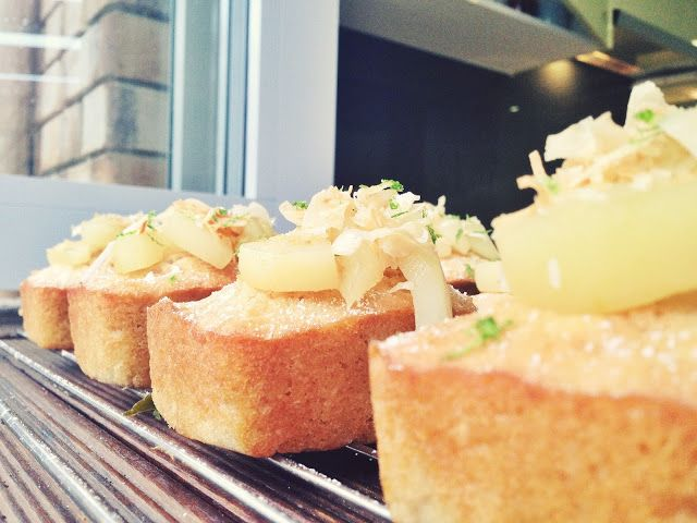 Coconut & Lime Green Tea infused pudding loafs with Poached Pears and Kaffir Lime Syrup