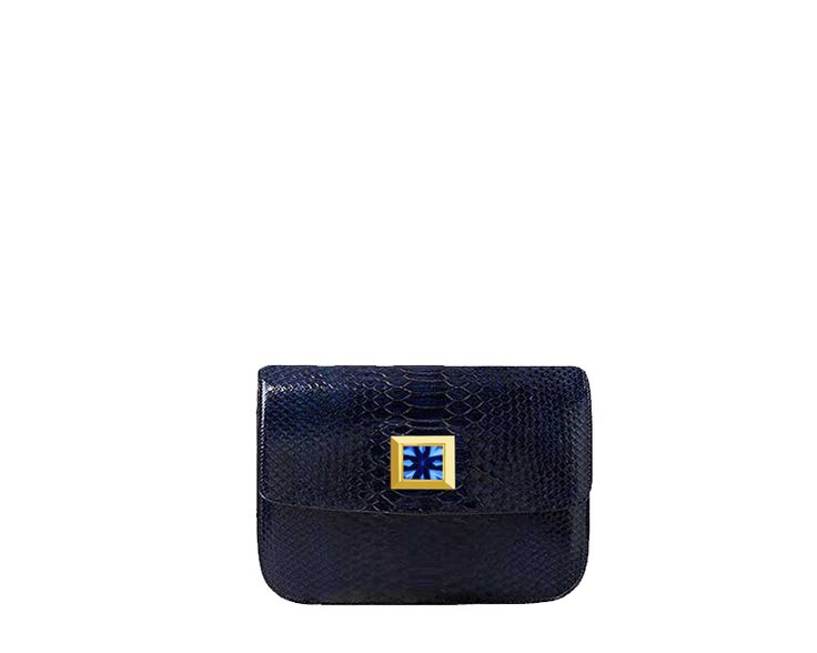 Designer Handbag: The Amara - Blue Python Skin, Blue Aquamarine Handcrafted into 18K Gold  #vittore #vittorehandbags #ultraluxury