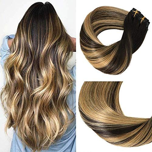 "Enjoy exclusive for Big Sale Huayi Clip In Hair Extensions Human Hair Caramel Highlights On Black And Natural Black Hair 120g Double Weft Thick End For Full Head No Tangle Silky Straight Balayage Hair (1271B#22"") online"