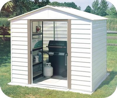 White Dallas 8x6 Arrow Metal Storage Shed Kit - www.shedsforlessdirect.com