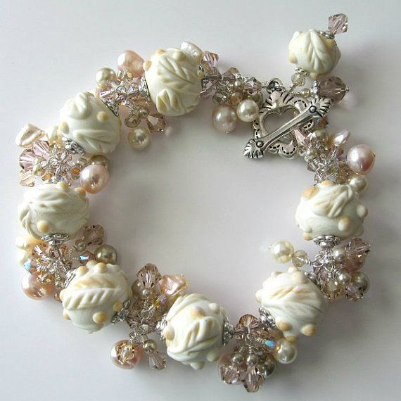 Beautiful Ivory Lampwork  Bracelet with Crystals by PacificJewelryDesign on Etsy