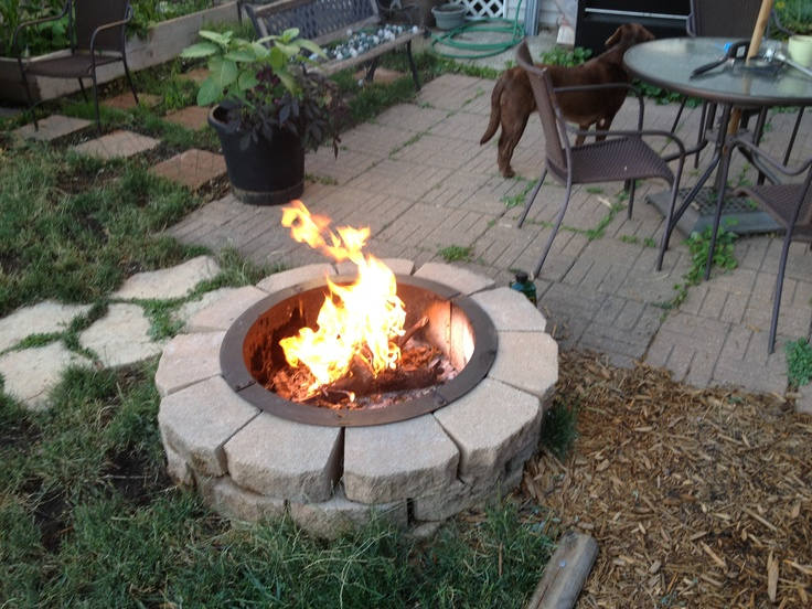 My Fire Pit Done Cheap Used Old Retainer Blocks And