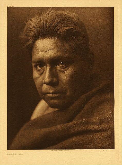 "Chijako - Pima, 1907.  Photogravure.  Curtis Caption: ""A representative Pima man of middle age."""
