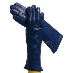 Синий Женщины & # 39, S Роскошные итальянские кожаные перчатки на шелковой подкладке, 4-Б.Т.