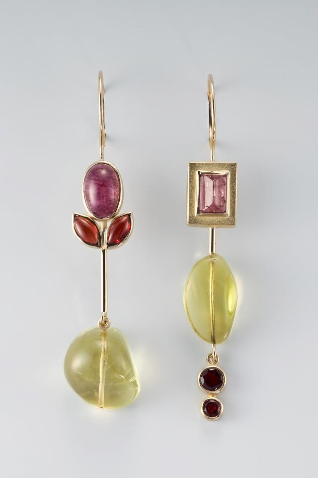 Janis Kerman Design - earrings -   18KT, TOURMALINE, GARNET, LEMON CITRINE
