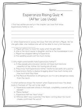 Esperanza Rising Pack: Prompts, Quizzes, Vocab, Task Cards