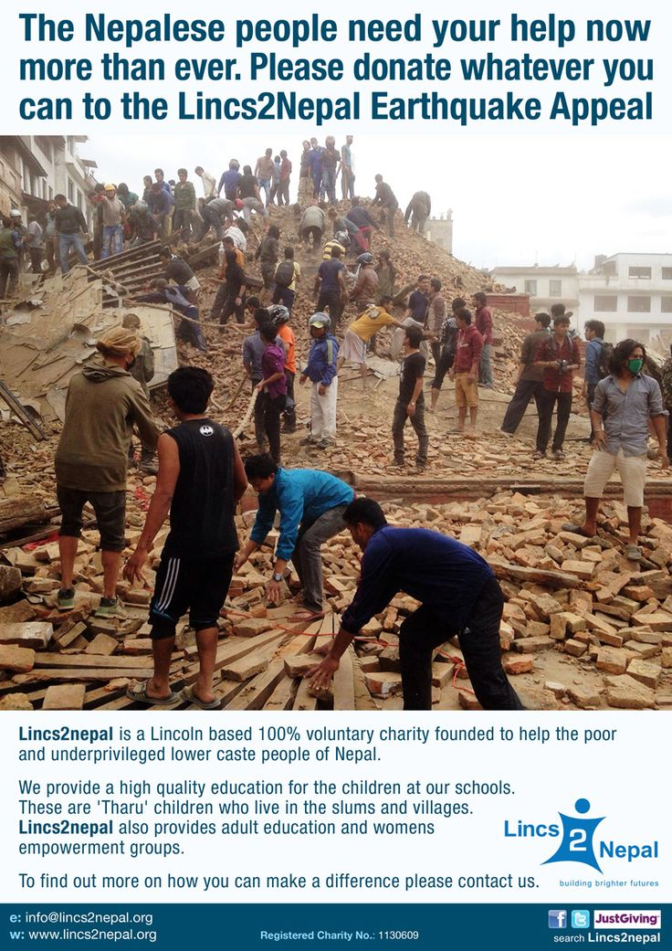 Lincs2Nepal Earthquake Appeal poster. (version 1). The appeal went on to raise over £45,000. Client: Lincs2Nepal. 2015. © Sean Mowle.