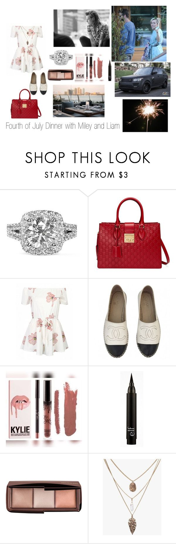 """""""4th of July Dinner Double Date with Your Boyfriend, Harry Styles"""" by madisonmilwardstyles ❤ liked on Polyvore featuring Vera Wang, Gucci, Chanel, Kylie Cosmetics and Hourglass Cosmetics"""
