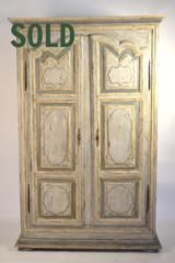 "Early 18th Century Armoire, Circa 1720-40 (Recently Painted)  81""X48""x16"""