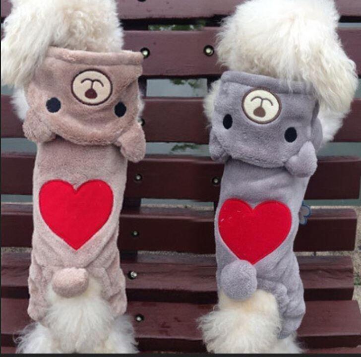 зима cute bear толстовка с капюшоном собак pet одежда puppy love сердце трансвеститы руно пальто теплые