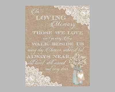 Rustic-Mason-Jar-Lace-Burlap-Style-Memorial-Table-In-Loving-Memory-Wedding-Sign