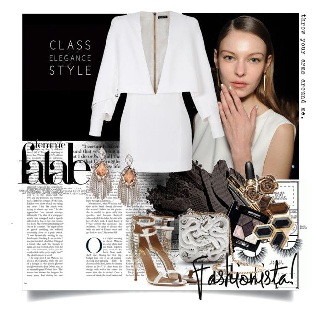 All White by ramona-ice on Polyvore featuring Balmain, Aquazzura, DANNIJO, Bobbi Brown Cosmetics, WhiteOnWhite and allwhite