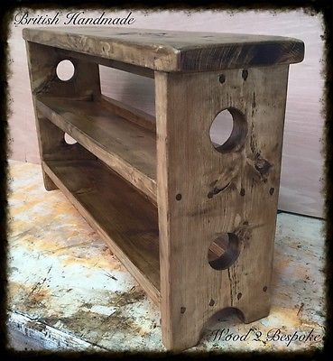 BENCH WITH DOUBLE TILTED SHOE RACK - HAND MADE RUSTIC PINE WOOD BENCH in Home, Furniture & DIY, Furniture, Benches | eBay