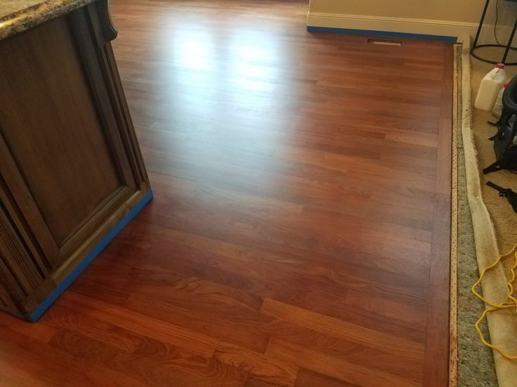 3 1/4 inch Brazilian Cherry Hardwood after a complete sanding. This floor was Sealed with  Bona Drifast Sealer. The finish used was Bona Traffic Satin. The sanding, seal & finish was done by: Mid Valley Hardwood LLC. Battle Ground, Wa 98604
