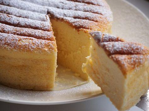 Japanilainen juustokakku. Pehmeän kuohkeasta kakusta saa leikattua siistejä paloja.