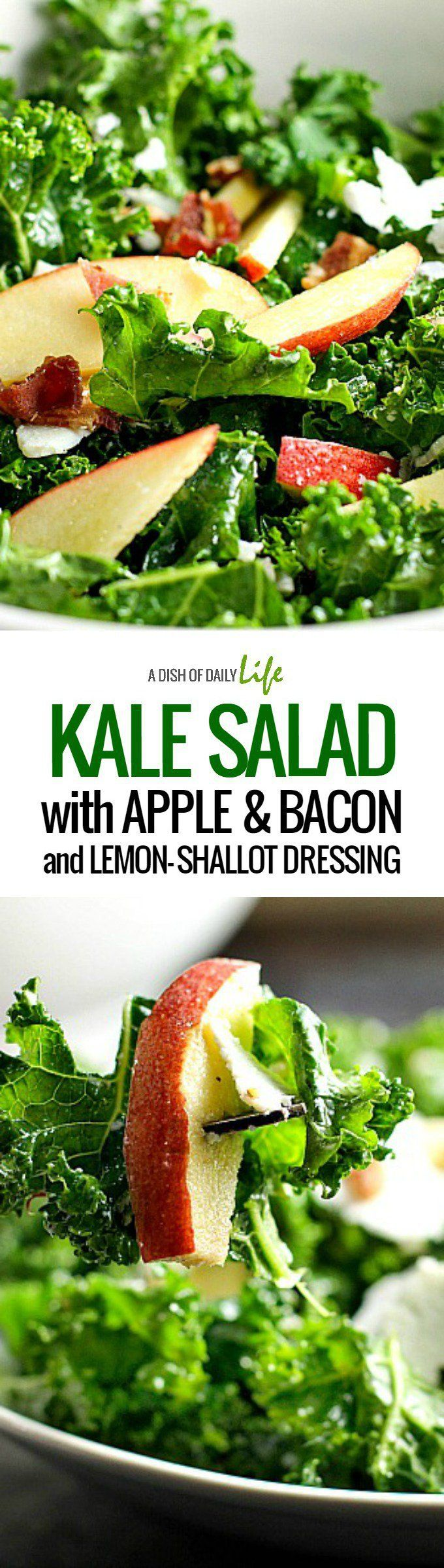 Kale Salad with Apple, Bacon and Lemon-Shallot Dressing...a hearty salad packed with flavor!