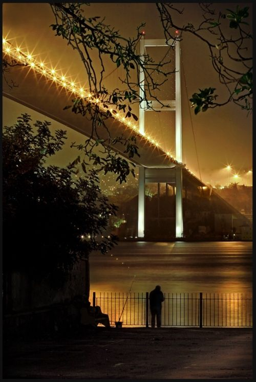 "This lovely shot of one of the two bridges over the Bosphorus in Istanbul evokes the ""money shot"" of The Brooklyn Bridge in NYC by Woody Allen in the remarkable cult film, ""Manhattan""."