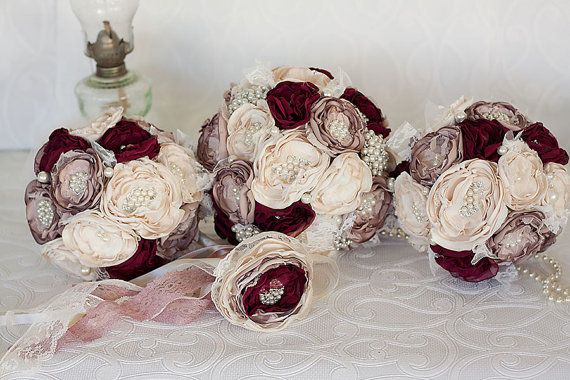 Fabric Brooch Wedding Bouquet set of three Cream, Dusty Pink and Burgundy Bouquets and Flower girl wand