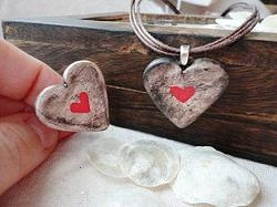 Handmade Ceramic Heart Necklace and Ring-2 by Ivy B Jones