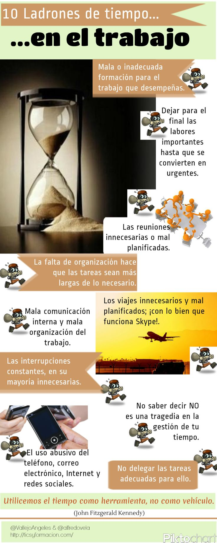 10 ladrones de tiempo en el trabajo #infografia