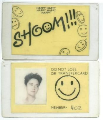 """The first use of the smiley as happy marketing symbol for a dance music club was by DJ Danny Rampling putting it on the flyer for his club Shoom (the fore runner for all rave clubs and events). He had apparently got the idea from designer Barnzley at the Wag Club wearing a shirt covered """"in a lot of smiley faces""""."""