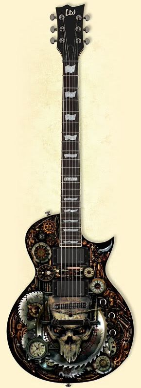 ESP LTD EC-CZ II Clockwork Zombie with artwork by dark artist Mr Sam Shearon (via Guitarz Blog)