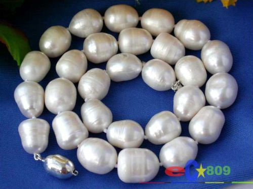 """Hot selling free shipping*******HUGE 17"""" 14MM WHITE RICE FRESHWATER CULTURED PEARL NECKLACE SILVER"""