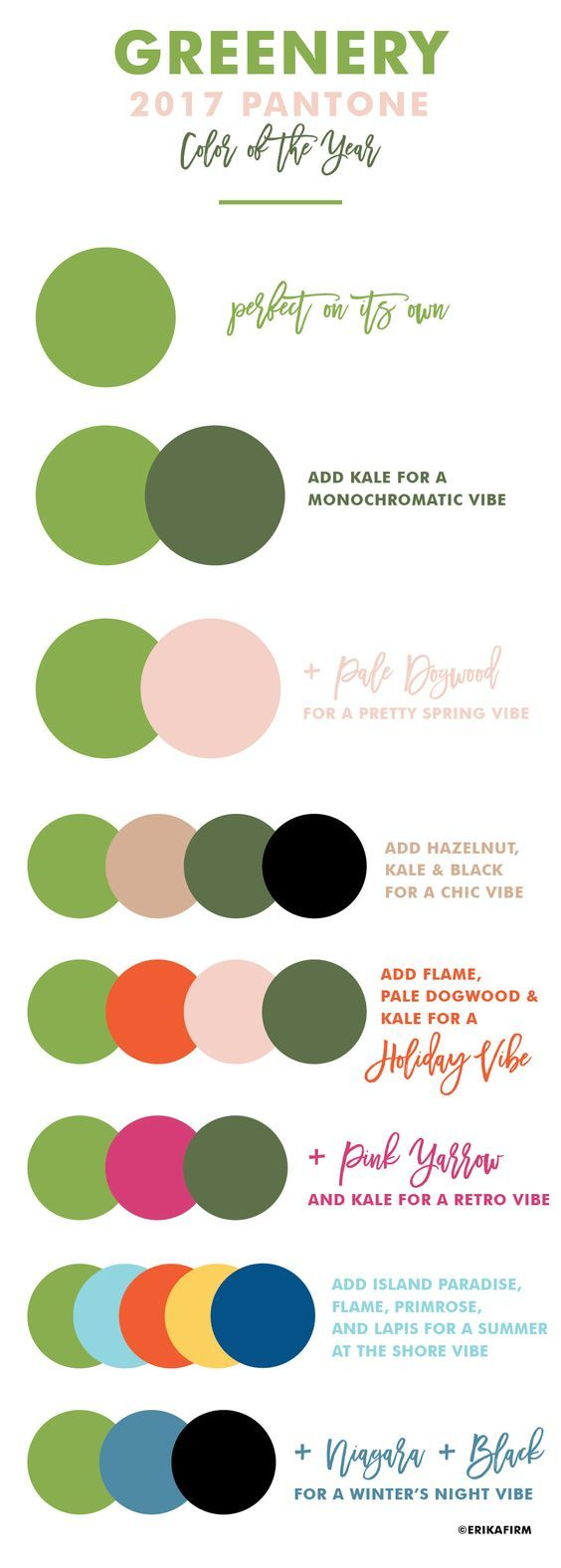 Greenery | 2017 Pantone Color of the Year 2017 | Color combinations by Erika Firm