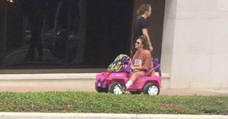 A Texas State student, stripped of her license and car after a DWI, drives a child's Barbie Jeep to school.