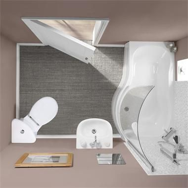 Small Toilets For Small Bathrooms | This image shows Milano Rydal Suite Corner Toilet (1500) from Tesco ...
