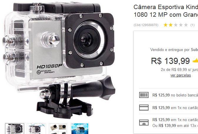 Câmera Esportiva Kindcam Paragon Hd 1080 12 MP com Grande Angular e Kit de Acessórios << R$ 12599 >>