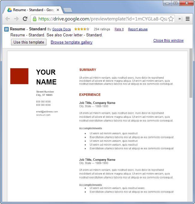 Resume Templates Google Drive. Google Drive Resume Template Resume