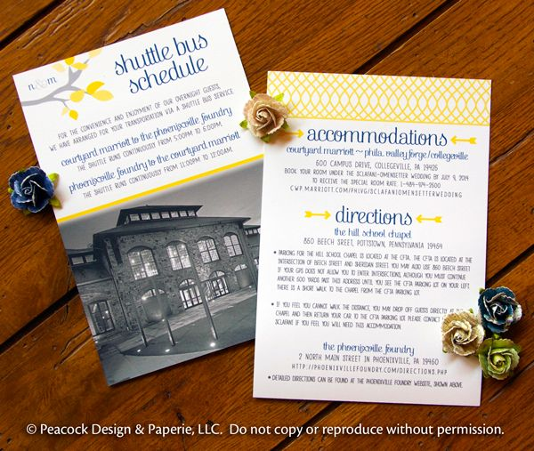 Wedding Cards, Wedding Shuttle Bus Schedule, Wedding Accommodations Cards, lovebirds themed wedding, Directions Card, venue photo, yellow and navy wedding colors