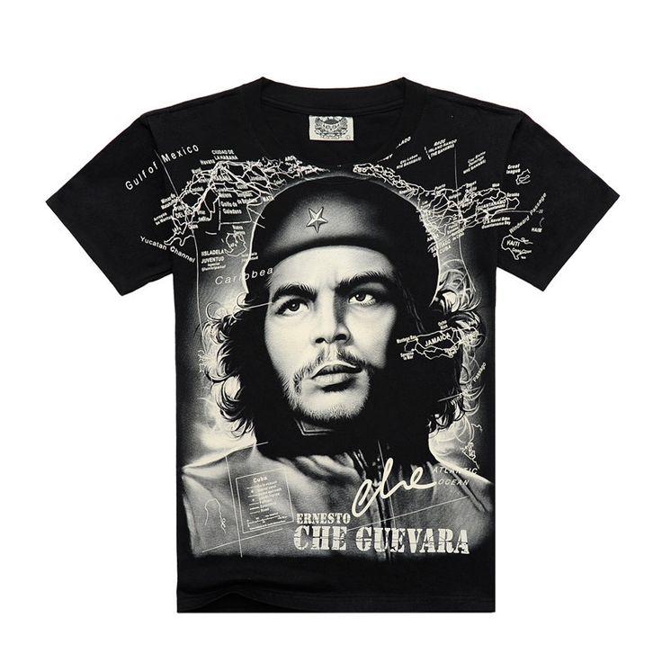 [Men bone] Summer Fashion Che Guevara Men's Shirt 3D printing T shirt Argentina hero men T-shirt cotton Tees free shipping