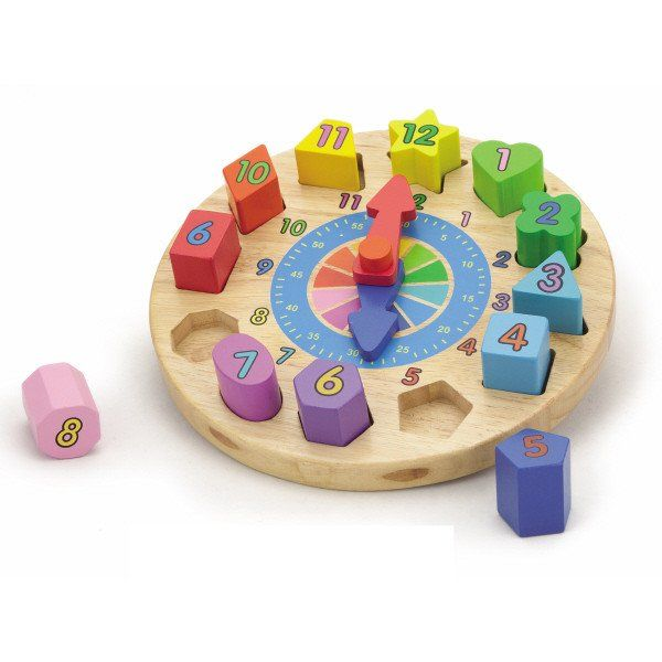 WOODEN CLOCK - Help your child learn to tell time with this gorgeous, wooden puzzle clock. The numbers are on colourful, removable geometric blocks, and the hands are movable!