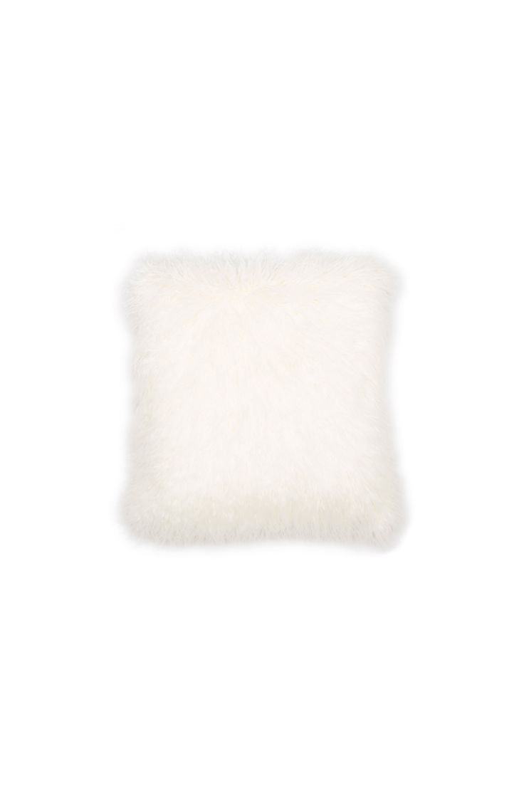 Faux  Mongolian Cushion, Ivory, One Size | BHS