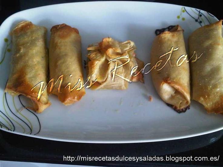 Rollitos de pasta Brick, salmón y queso de untar