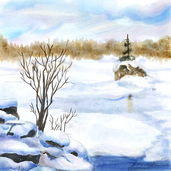 """Snow Study Two"" - Digital Watercolour, in Snowy Landscapes"