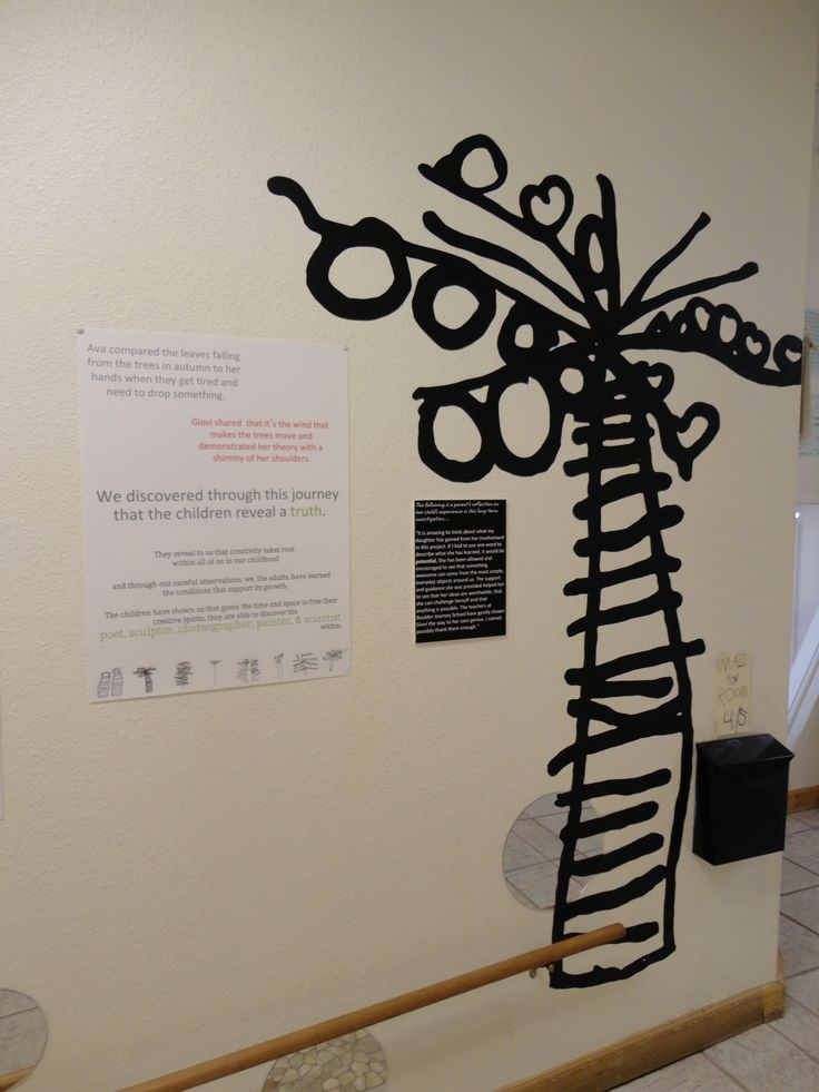 Using samples of the children's work to accompany a more formal display of ideas that tell a story about an important experience in the classroom. This style of display speaks to both adults and children as the audience.