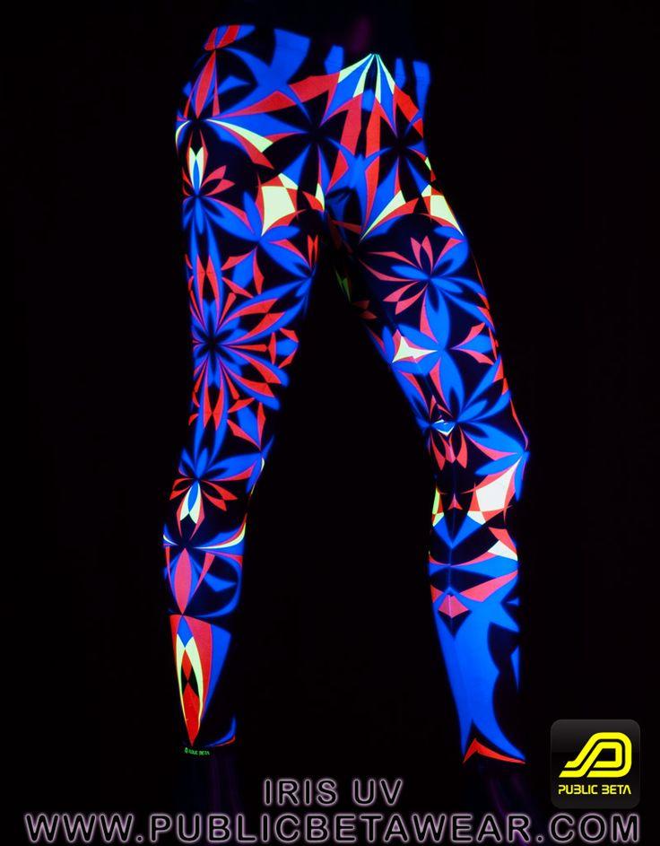 Iris Leggings D22 by Public Beta Wear  Geometric art prints on leggings. Wear for yoga or other activities. Blacklight clothing.