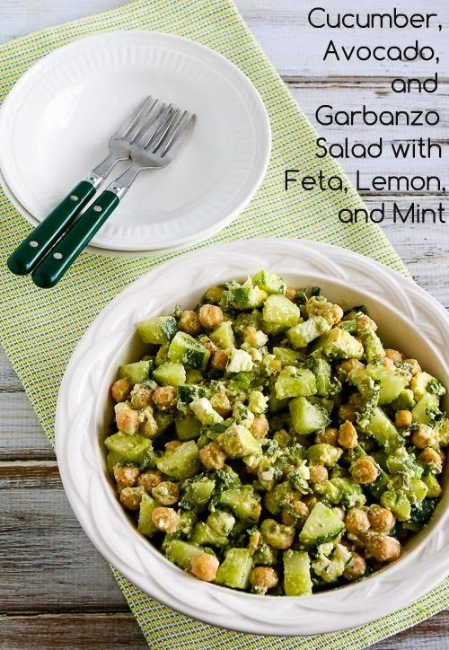 Cucumber, Avocado, and Garbanzo Salad with Feta, Lemon, and Mint; my nephew and I both thought this combination was really a wow! [from Kalyn's Kitchen] #GlutenFree #SouthBeachDiet #Cucumbers #GardenFood