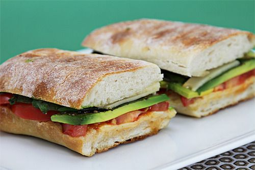smoked provolone panini with tomato, avocado and basil