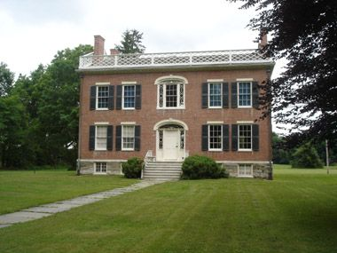 The James Vanderpool House in Kinderhook, NY was built around 1820 for a prominent lawyer and politician. The brick home is a beautiful example of Federal architecture and features beautiful details.