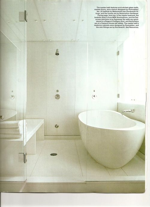 White Bathroom Wet Room Combo And Free Standing Tub