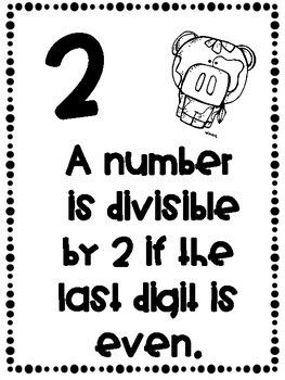 Divisibility Rules Posters Farm Theme ~Black & White~ For