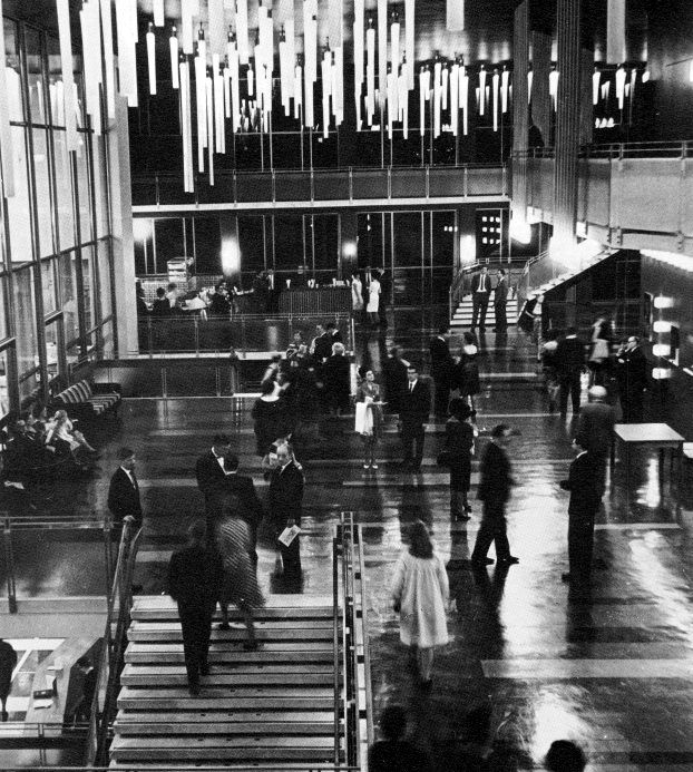 Johannesburg Civic Theatre, as it as at the opening. Foyer from the mezzanine floor