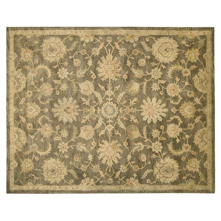 Nourison Jaipur Traditional Framed Floral Wool Rug, Grey