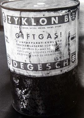 a canaster of the horrilbe gas zyklon b that was used in the gas chambers